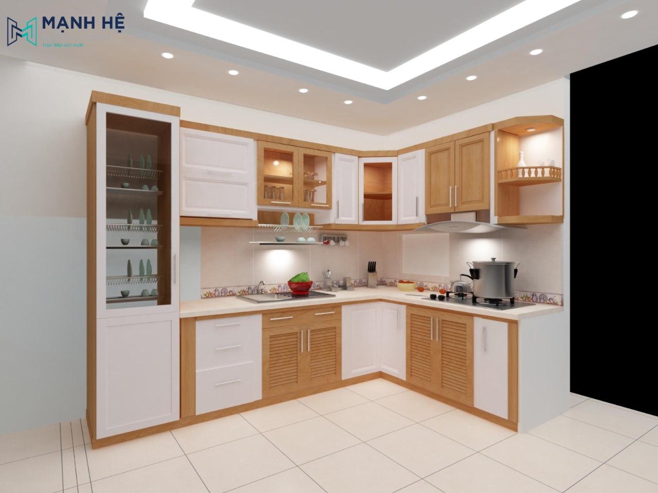 Tủ bếp gỗ tự nhiên TBXD13