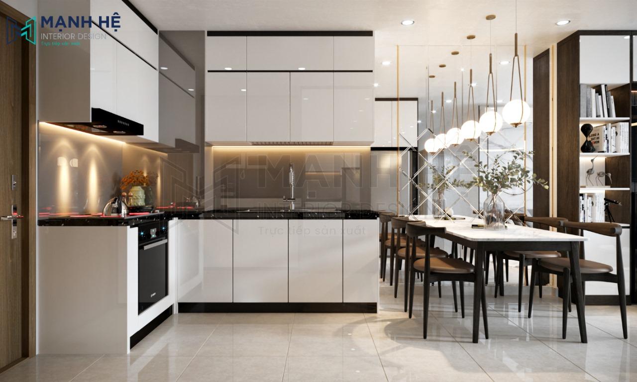 Tủ bếp Acrylic bóng gương TBA13