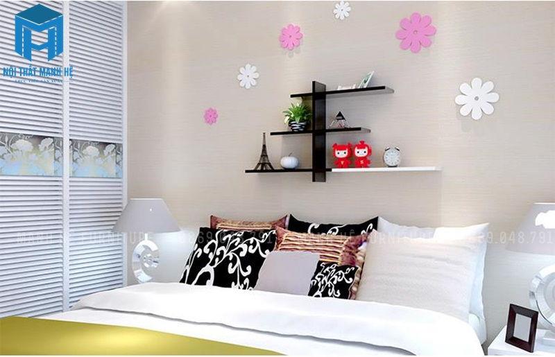 Kệ trang trí phòng ngủ đơn giản, ấn tượng