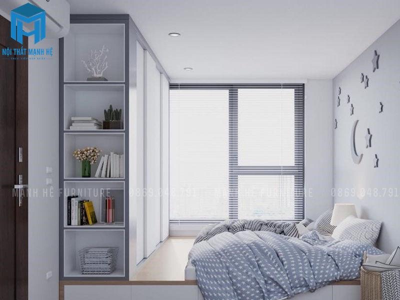 Thiết kế tủ đồ và tủ sách liền kề tạo sự tiện dụng và đẹp mắt