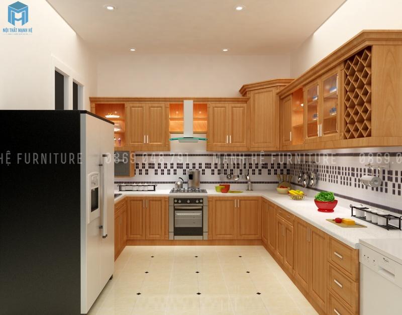 tủ bếp chữ L gỗ xoan đào