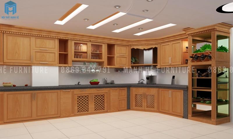 tủ bếp gỗ xoan đào lớn