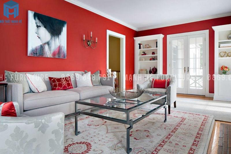 Nội thất phòng khách màu đỏ