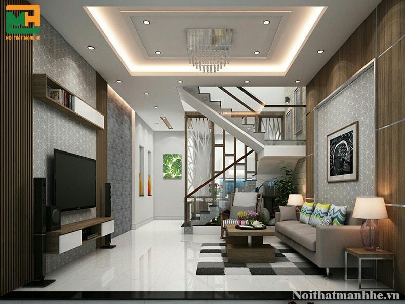thiết kế nội thất phòng khách nhà anh hiếu