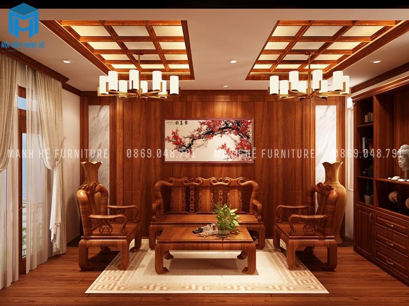 Toàn bộ căn nhà được làm từ gỗ đỏ quý giá và phòng khách cũng vậy