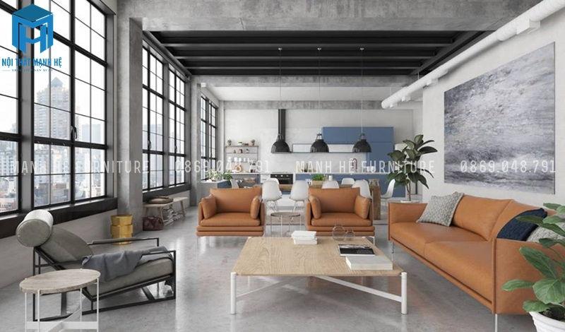 Phòng khách liền bếp căn hộ chung cư không gian rộng, thoáng đãng