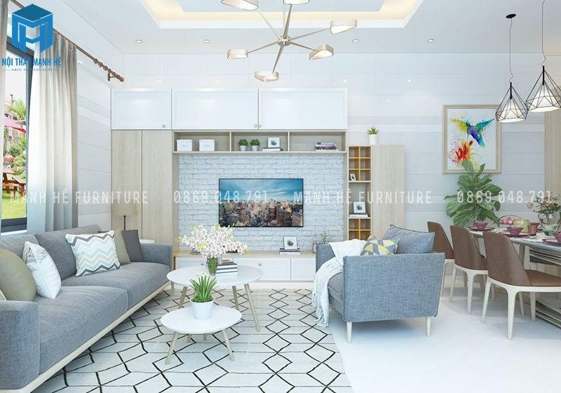 Nội thất phòng khách chung cư bao gồm bộ ghế sofa, bàn trà, kệ trưng bày kết hợp ti vi, tủ đựng đồ vo cùng tiện lợi