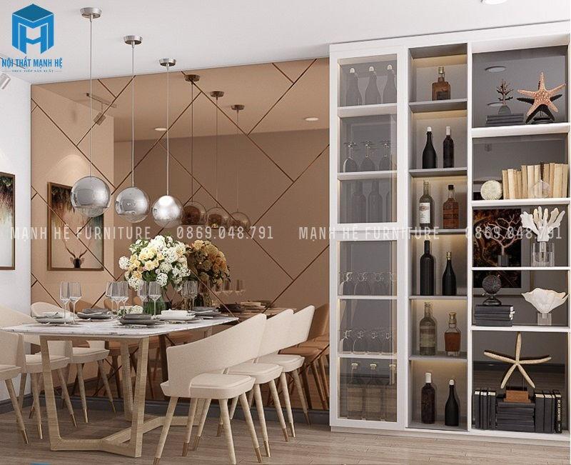 bàn ăn và tủ rượu thiết kế đơn giản, sử dụng chất liệu gỗ tự nhiên, màu sắc hơi cổ điển phối với các phụ kiện trang trí hiện đại tạo nên vẻ cuốn hút cho người đến thăm