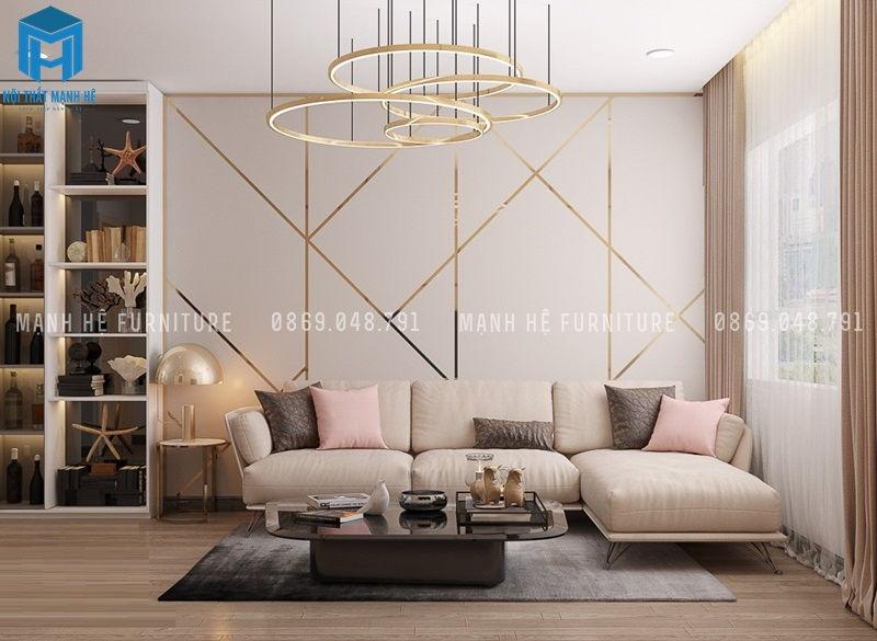 Thiết kế nội thất phòng khách màu hồng pha nâu đen
