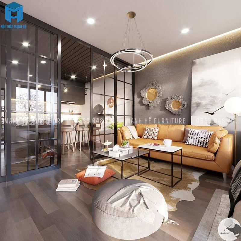 Bộ ghế sofa vintage cùng vật dụng trang trí dộc lạ màu cam nổi bật giữa căn phòng thể hiện cá tính riêng của chủ gia