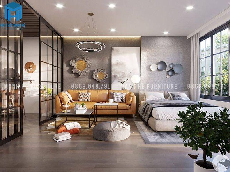 Nội thất phòng khách được thiết kế độc đáo, có chiếc giường ngủ dành cho khách đến thăm hay bất cứ lúc nào chủ gia muốn thư giãn tại chính nơi mang đến không khi trong lành ngay khung cửa sổ