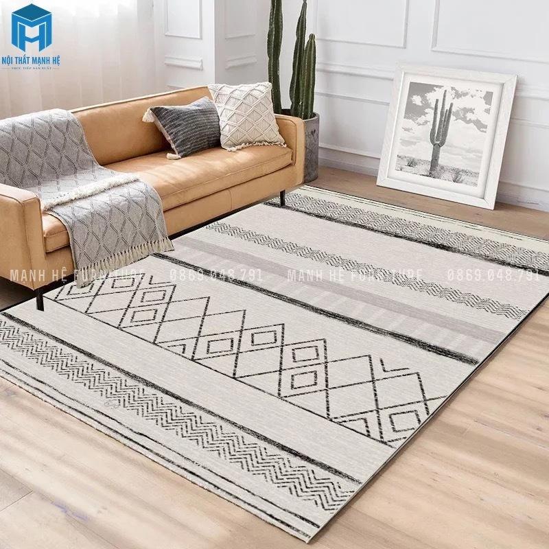 Thảm vải trang trí phòng khách nhẹ nhàng