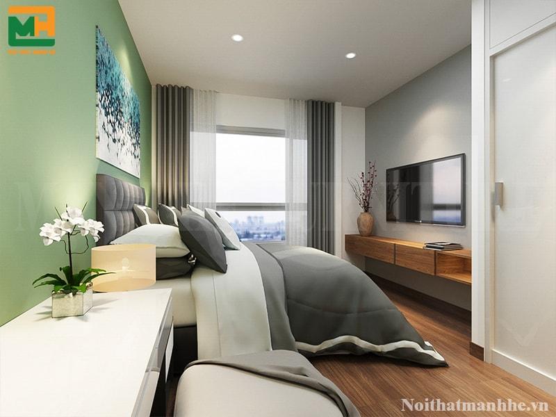 mẫu nội thất được sơn màu xanh mệnh mộc