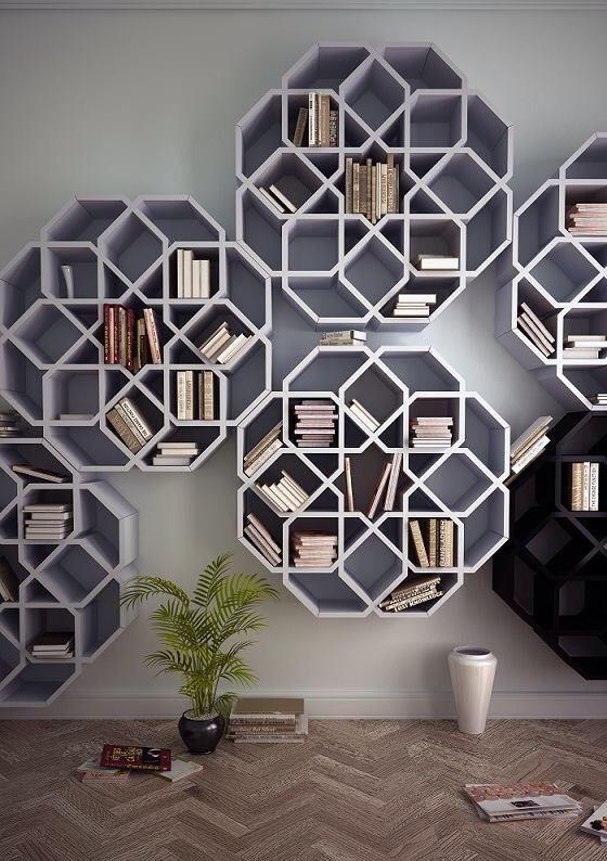Kệ treo sử dụng các hình lục giác không đều đan xen nhau tạo mô hình tròn góc cạnh cực đẹp