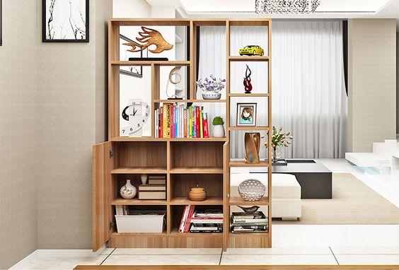 Kệ gỗ trang trí kết hợp hộc đựng hồ sơ
