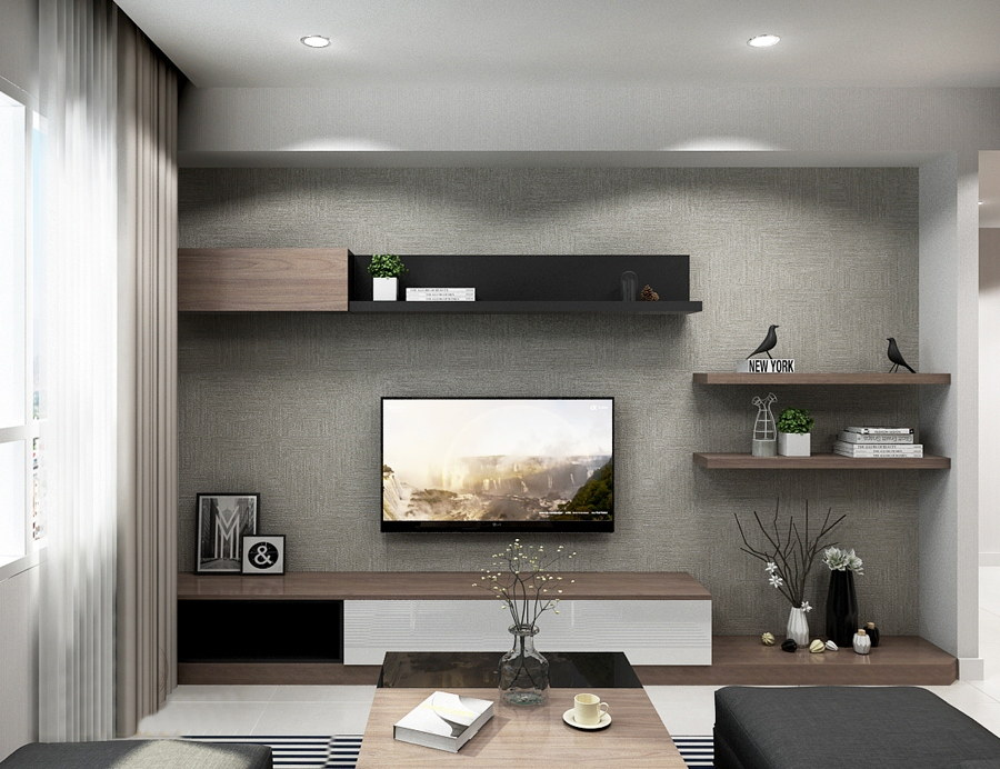 Kệ trang trí bên góc và trên ti vi sử dụng gỗ tự nhiên màu vân gỗ đẹp mắt, tạo nên vẻ đẹp ấm áp cho phòng khách