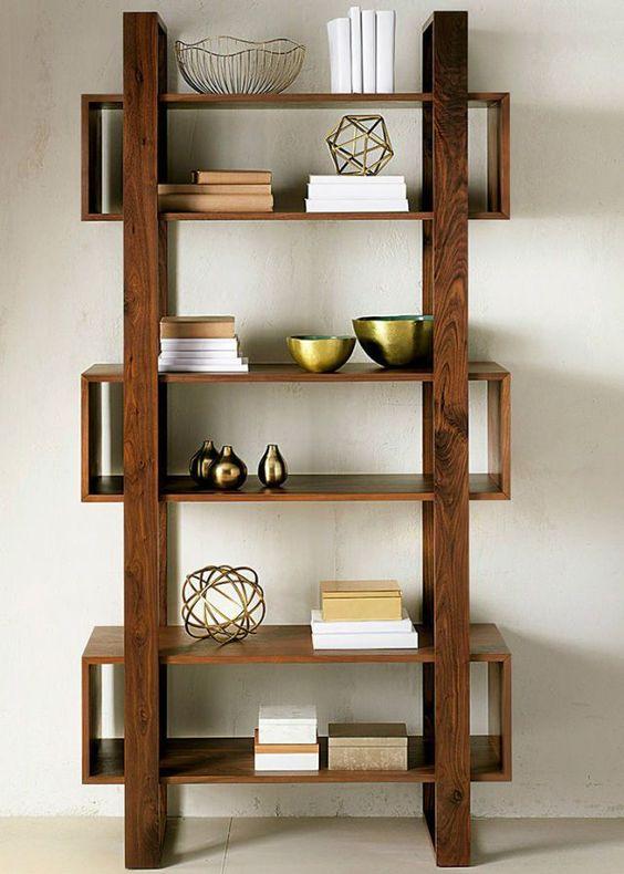 Kệ gỗ trang trí phòng khách đơn giản, khung chân sử dụng thanh gỗ tự nhiên chắc chắn