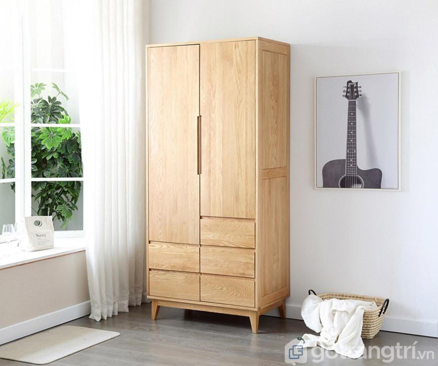 Tủ quần áo gỗ sồi có khung chân chống đỡ
