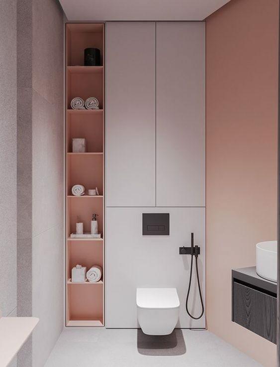 Tủ quần áo nhỏ gọn gỗ công nghiệp trong phòng tắm, tiện lợi cho việc lấy đồ mặc khi tắm