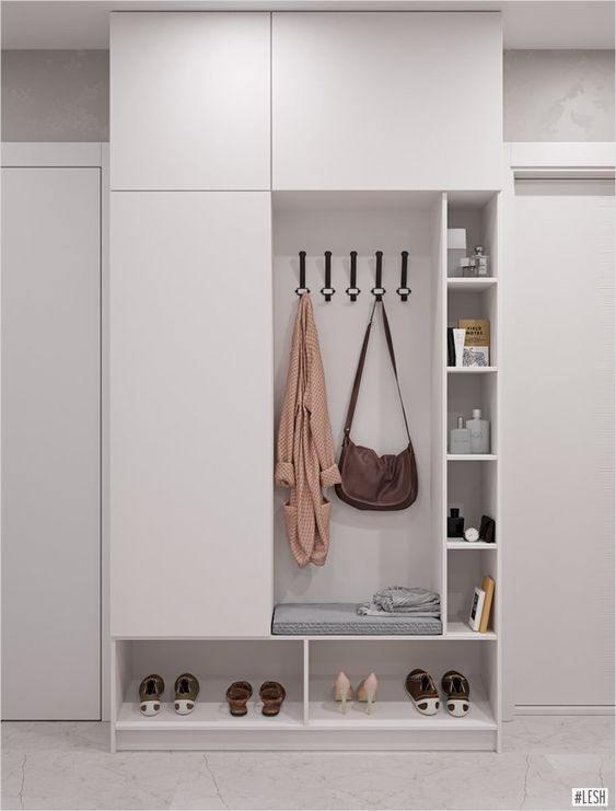 Tủ quần áo gỗ công nghiệp cho phòng ngủ nhỏ, tích hợp nhiều công năng như kệ trưng bày, kệ giày, ô treo cặp sách, phụ kiện,... rất tiện lợi và tiết kiệm không gian, chi phí