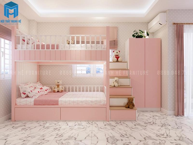 Phòng ngủ màu hông với chiếc giường tầng đơn giản nhưng tiện nghi