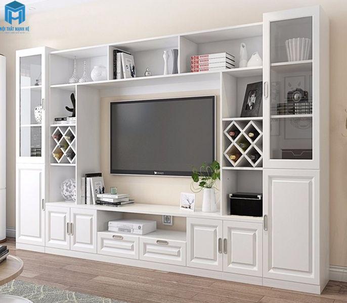 tủ tivi gỗ tự nhiên sơn trắng