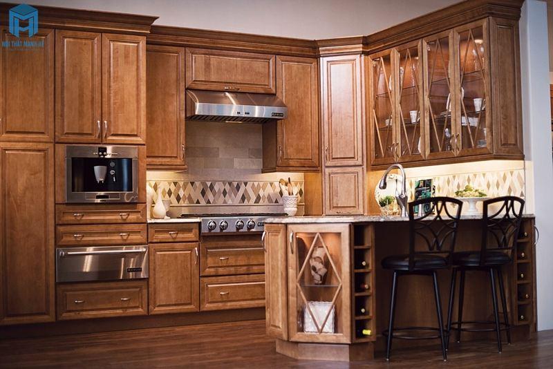 Tủ bếp gỗ tự nhiên chữ U