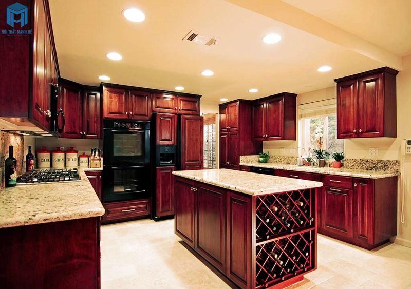 Phòng bếp gỗ xoan đào