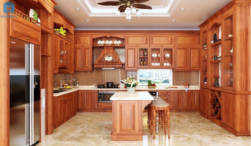 Hệ tủ bếp gỗ Gõ đỏ tự nhiên