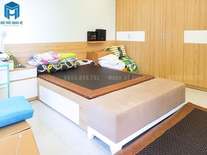 Phòng ngủ được thiết kế đơn giản