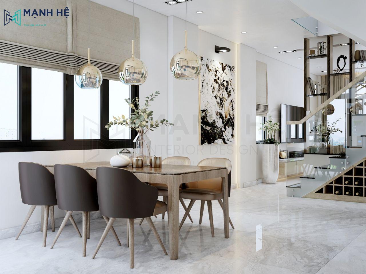Phòng khách nối liền với nhà bếp tạo ra không gian rộng rãi