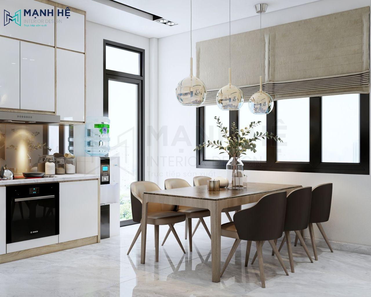 Nhà bếp được thiết kế đón nhiều ánh sáng mặt trời