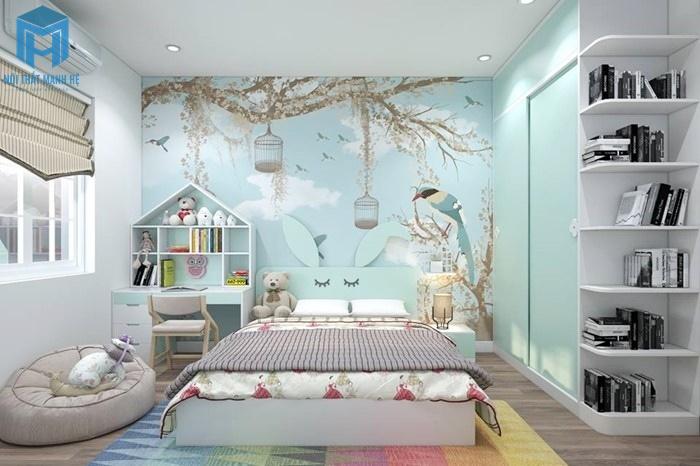 Phòng ngủ tone xanh khu rừng