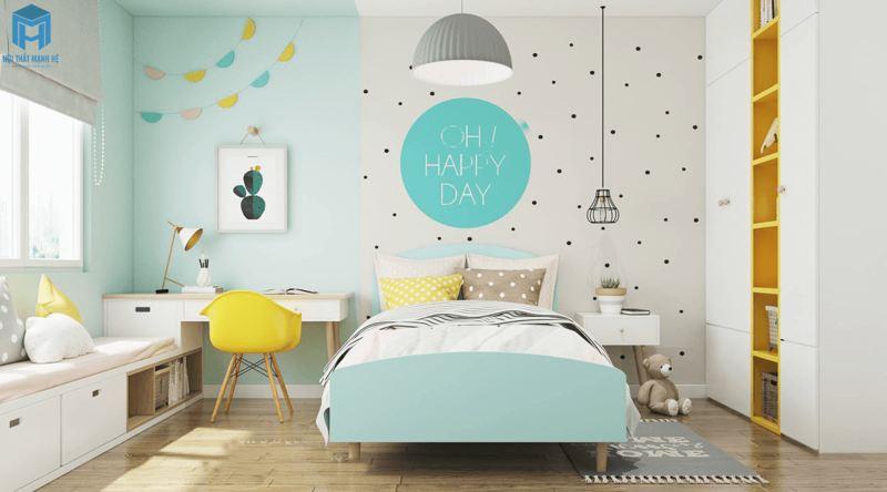Phòng ngủ xanh bầu trời nhẹ nhàng