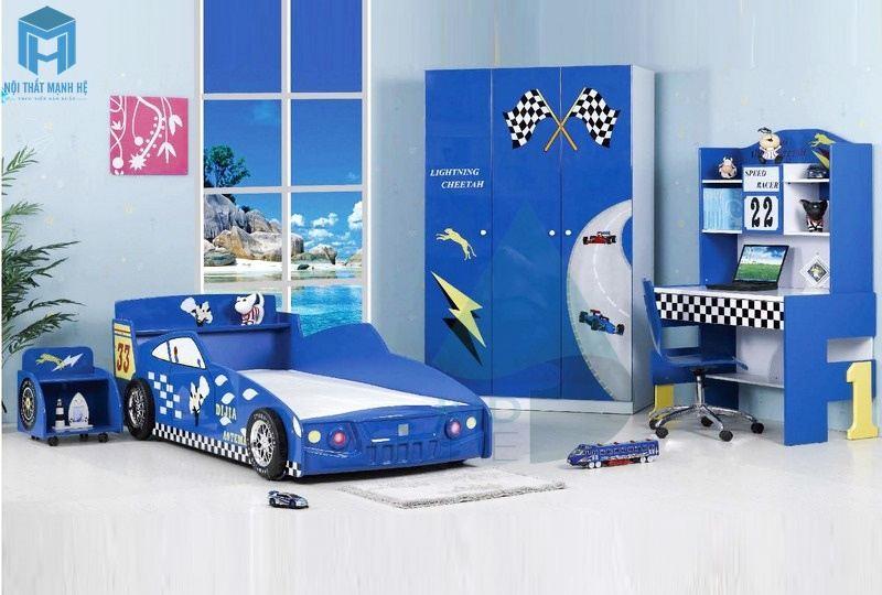 Phòng ngủ xe hơi màu xanh