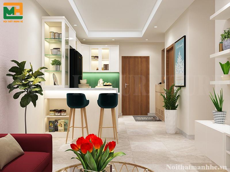 thiết kế căn hộ diện tích 65m2 của chị Phượng