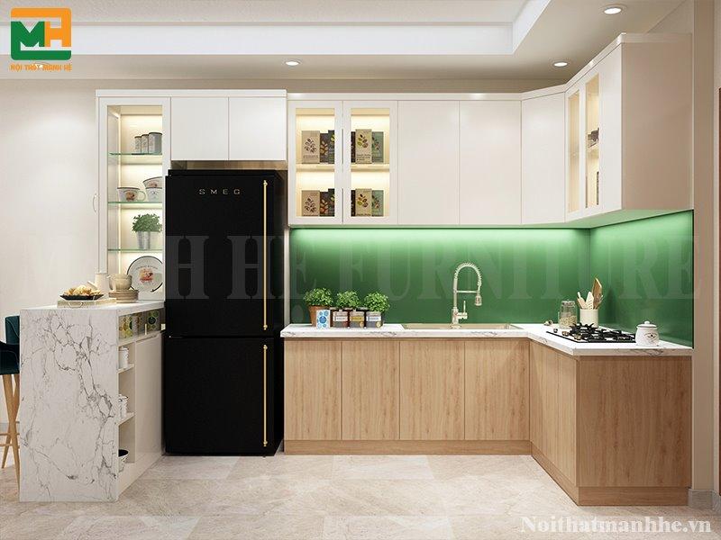 thiết kế nội thất phòng bếp căn hộ chung cư 65m2