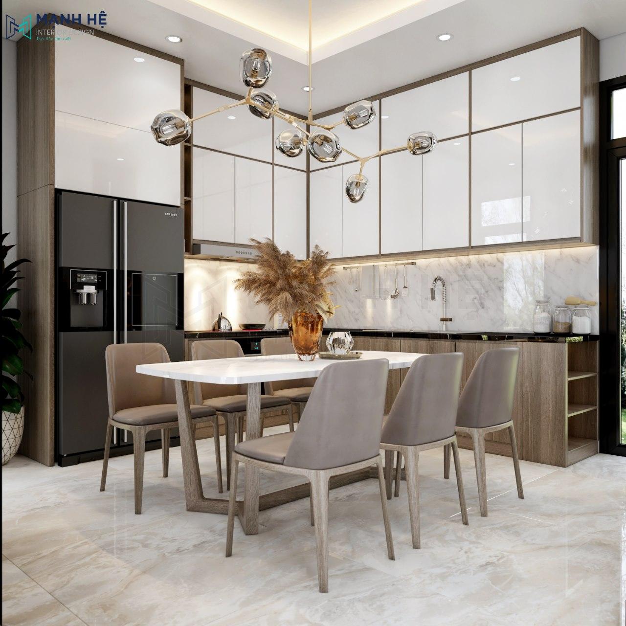 Tủ bếp được thiết kế theo dạng chữ L tiết kiệm diện tích