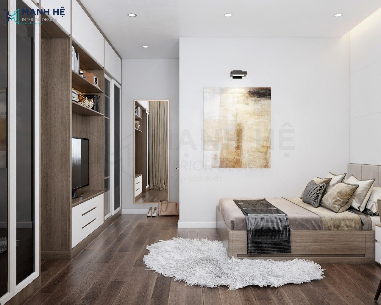 Phòng ngủ được bố trí thêm tivi, tủ nhỏ