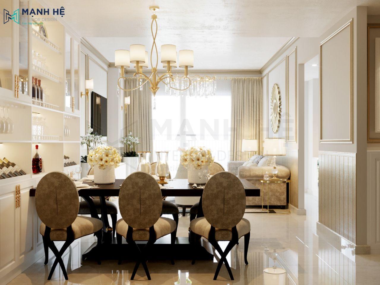 phòng khách liền phòng ăn
