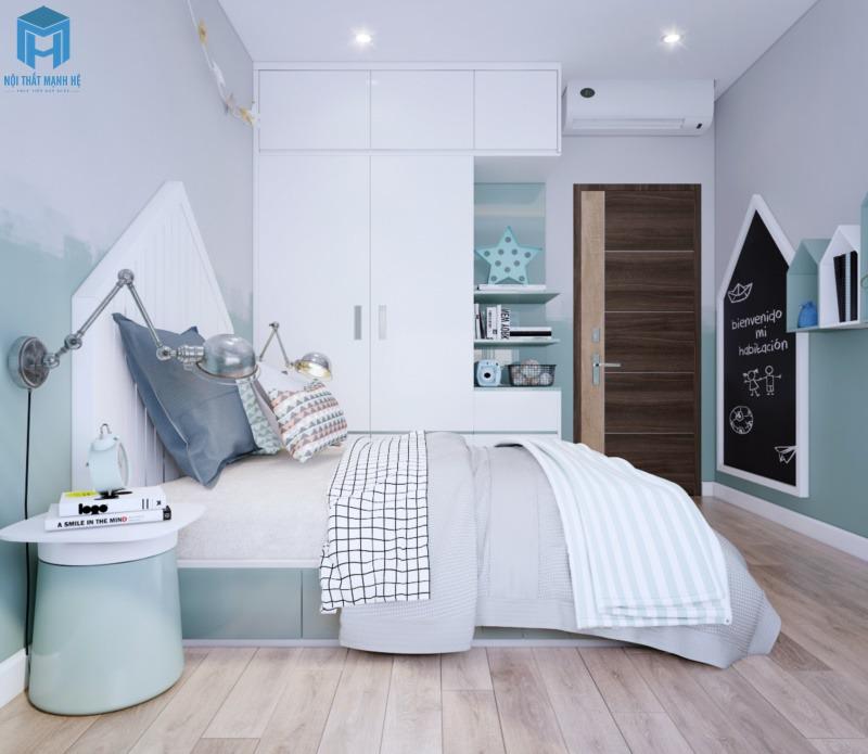 Phòng ngủ màu xanh cho bé trai