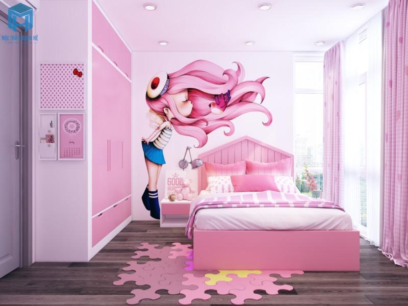 phòng ngủ công chúa cho bé