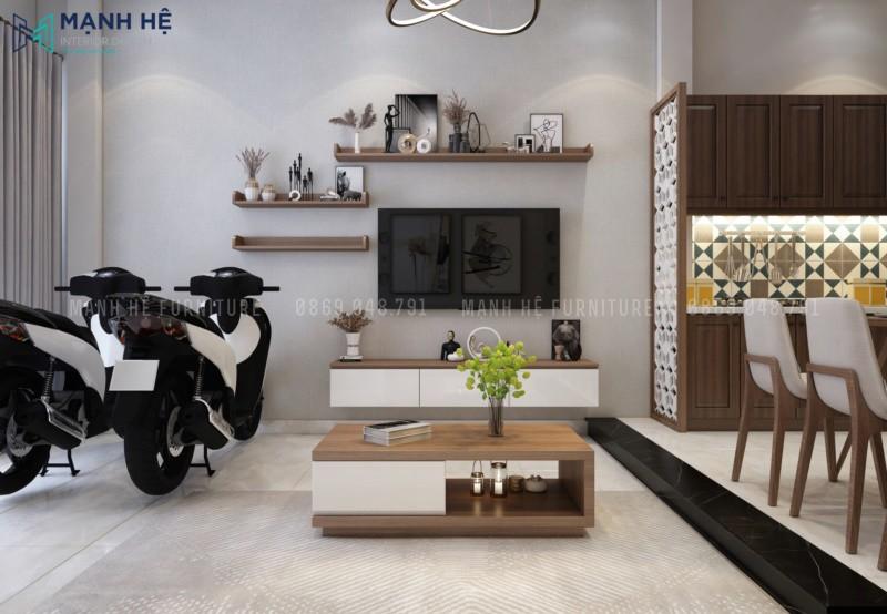 Kệ tivi treo tường và bàn trà phòng khách