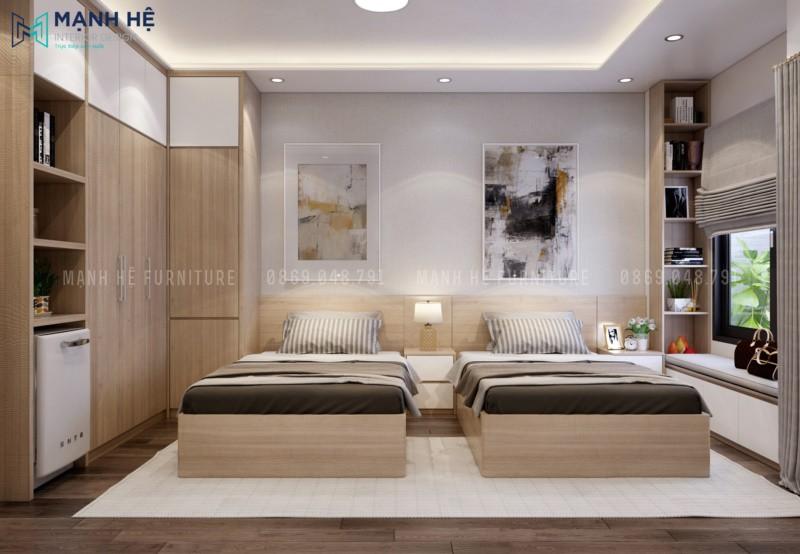 Vách gỗ ốp đầu giường phòng ngủ