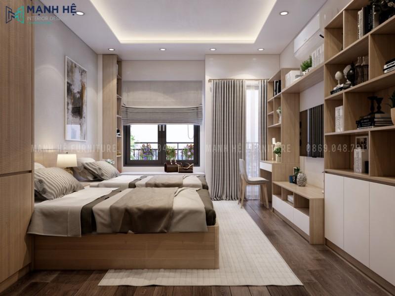 Thiết kế nội thất phòng ngủ master nhã nhặn