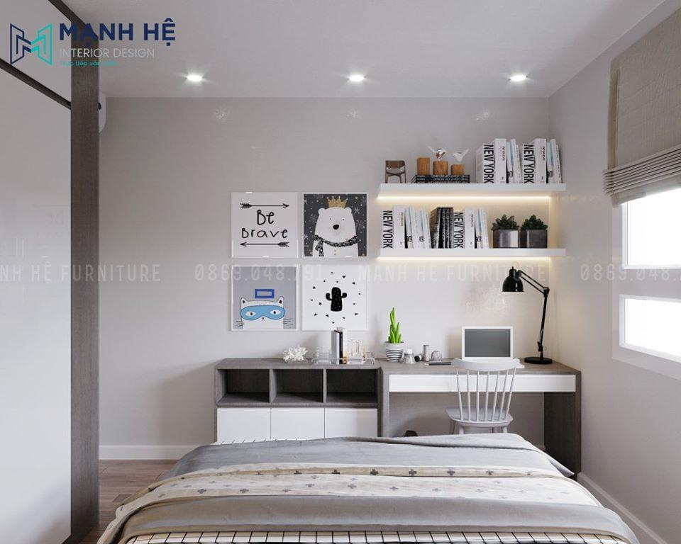 Thiết kế màu xám pastel cho phòng ngủ thư giãn