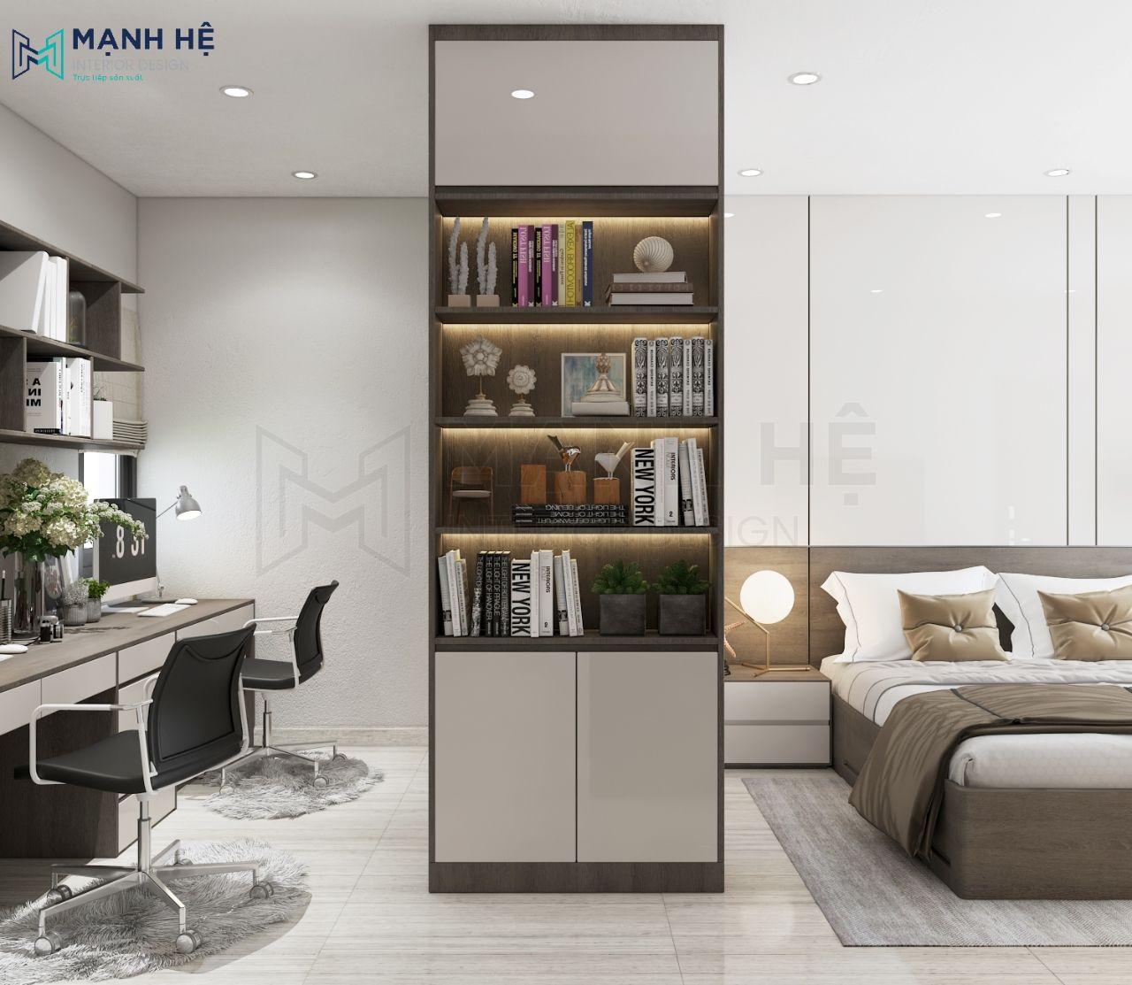 Phòng ngủ được bố trí thêm kệ sách và bàn làm việc