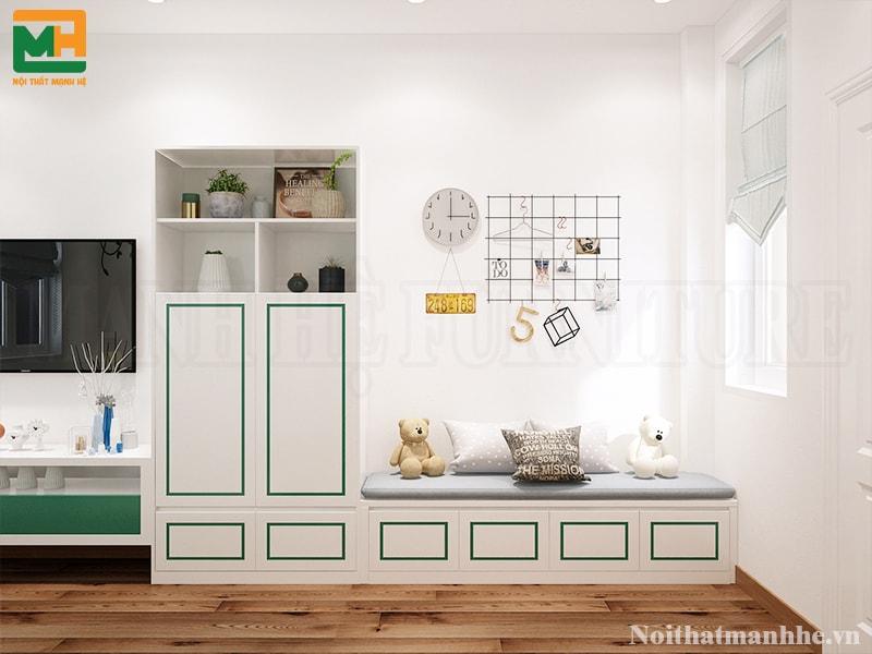 thiết kế nội thất tủ trong phòng bé