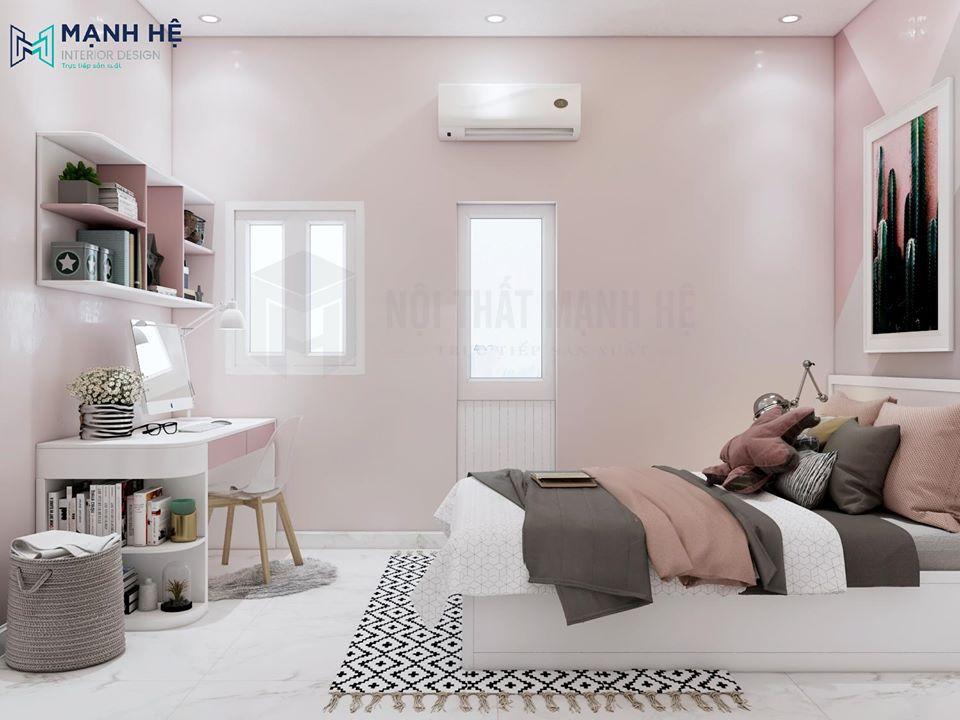 Chiếc giường nhỏ giúp cân bằng căn phòng