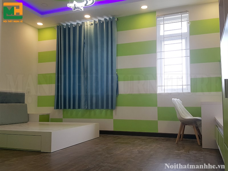 nội thất phòng ngủ màu xanh lá